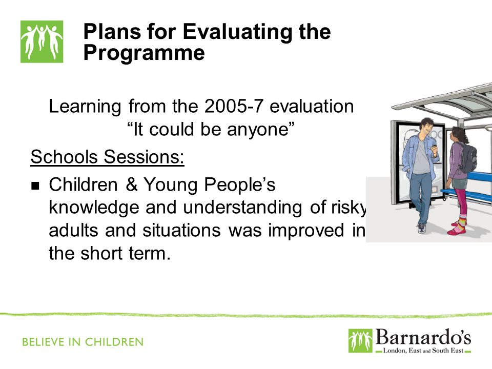 Plans for Evaluating the Programme Learning from the 2005-7 evaluation It could be anyone Schools Sessions: Children & Young Peoples knowledge and und