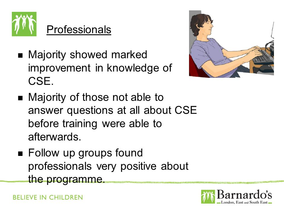 Professionals Majority showed marked improvement in knowledge of CSE. Majority of those not able to answer questions at all about CSE before training