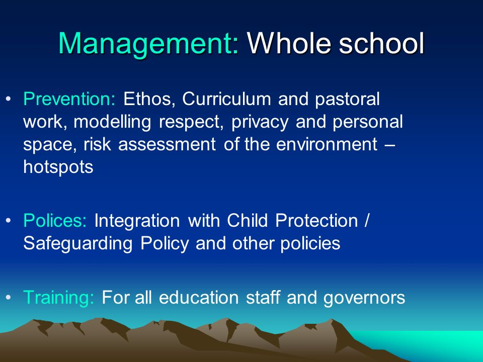Management: Whole school Prevention: Ethos, Curriculum and pastoral work, modelling respect, privacy and personal space, risk assessment of the enviro