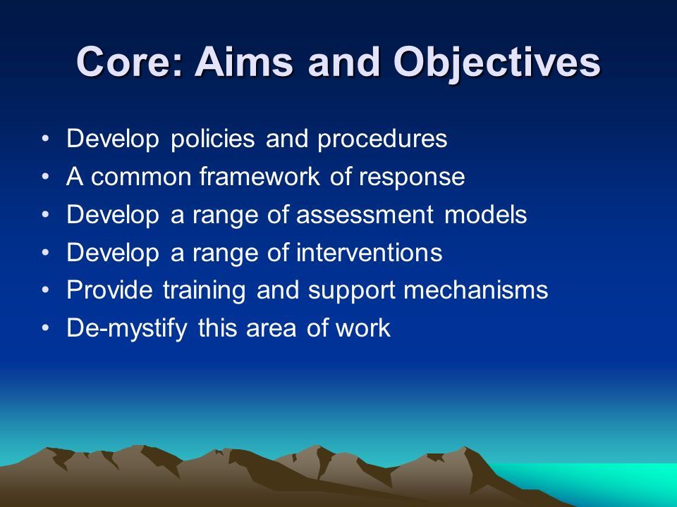 Core: Aims and Objectives Develop policies and procedures A common framework of response Develop a range of assessment models Develop a range of inter