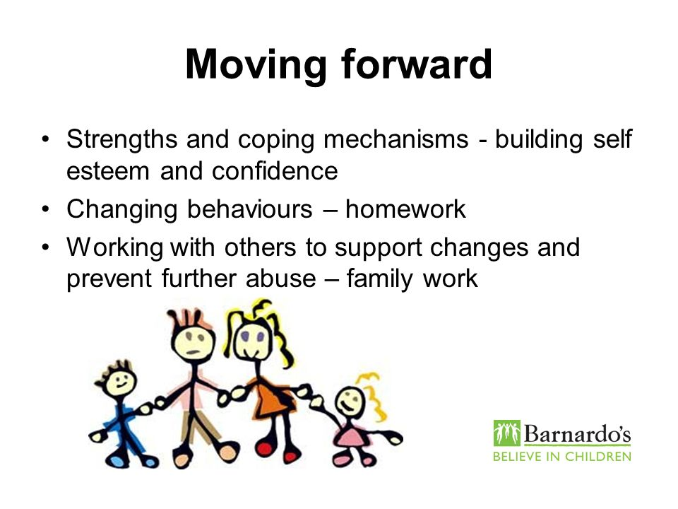 Moving forward Strengths and coping mechanisms - building self esteem and confidence Changing behaviours – homework Working with others to support cha