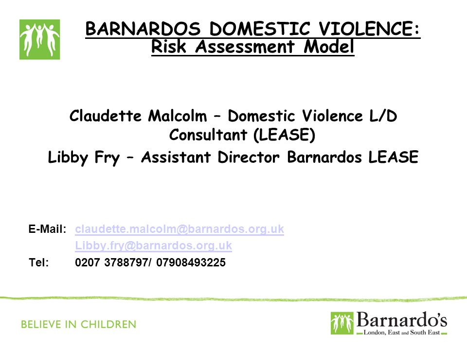 BARNARDOS DOMESTIC VIOLENCE: Risk Assessment Model Claudette Malcolm – Domestic Violence L/D Consultant (LEASE) Libby Fry – Assistant Director Barnardos LEASE E-Mail:claudette.malcolm@barnardos.org.ukclaudette.malcolm@barnardos.org.uk Libby.fry@barnardos.org.uk Tel: 0207 3788797/ 07908493225