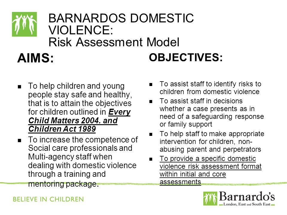 BARNARDOS DOMESTIC VIOLENCE: Risk Assessment Model AIMS: To help children and young people stay safe and healthy, that is to attain the objectives for children outlined in Every Child Matters 2004.