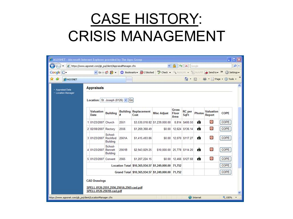 CASE HISTORY: CRISIS MANAGEMENT