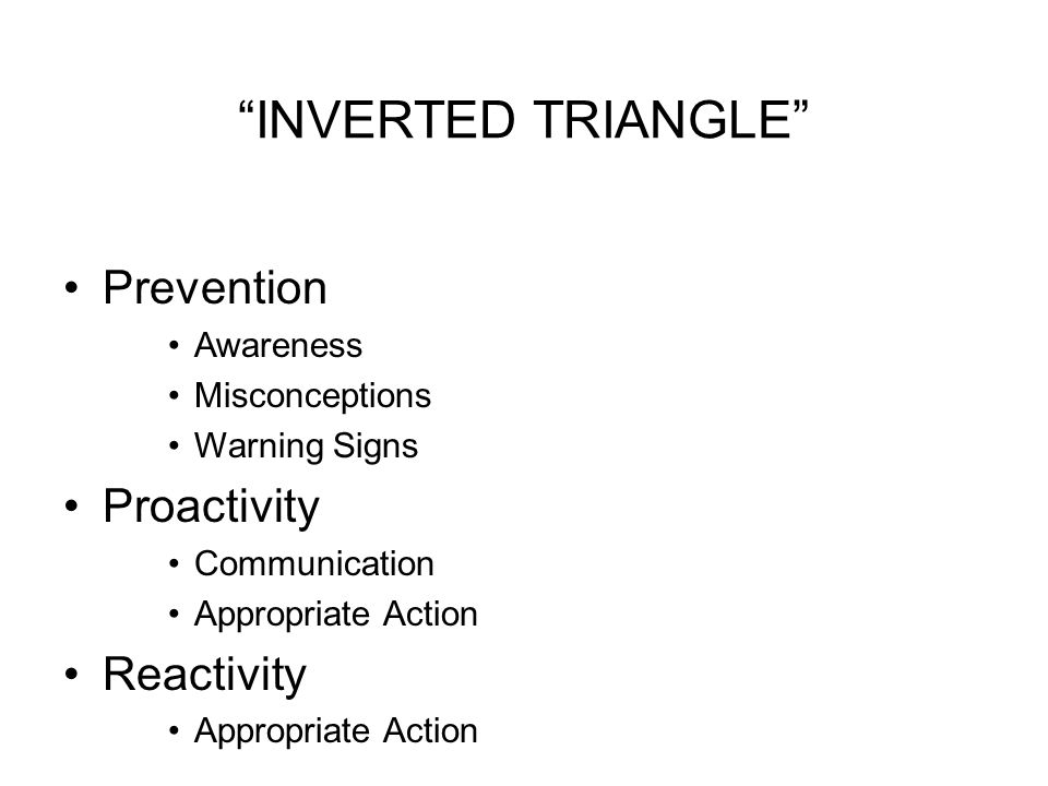 INVERTED TRIANGLE Prevention Awareness Misconceptions Warning Signs Proactivity Communication Appropriate Action Reactivity Appropriate Action