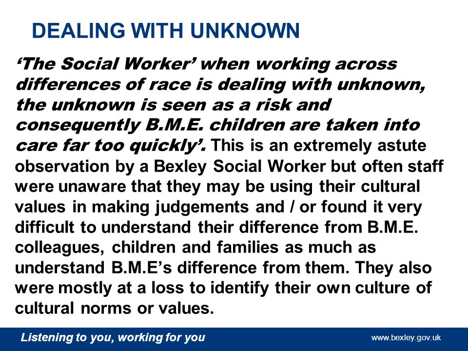 www.bexley.gov.uk Listening to you, working for you www.bexley.gov.uk Listening to you, working for you www.bexley.gov.uk Listening to you, working fo