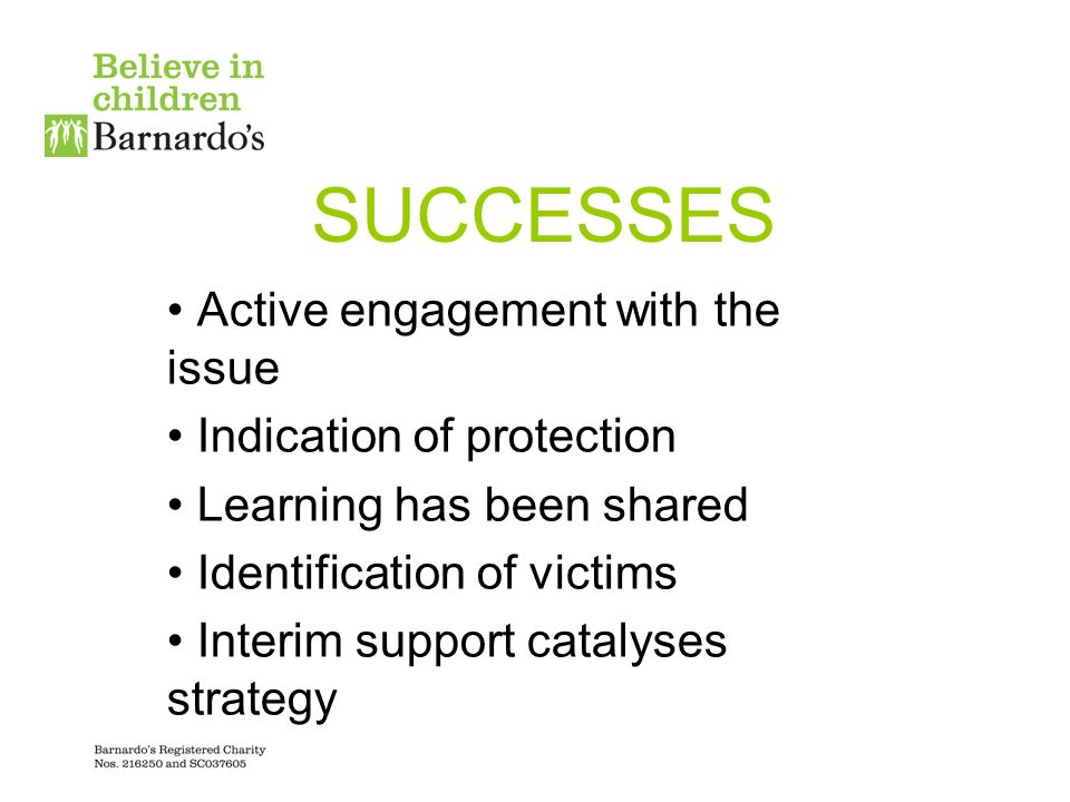 SUCCESSES Active engagement with the issue Indication of protection Learning has been shared Identification of victims Interim support catalyses strategy
