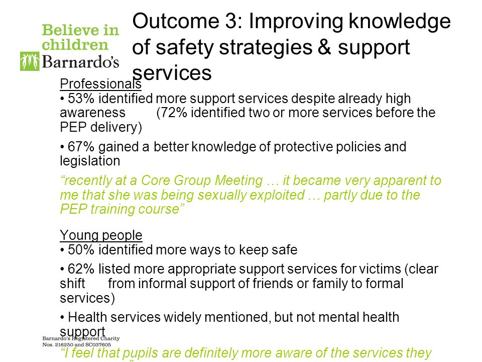 Outcome 3: Improving knowledge of safety strategies & support services Professionals 53% identified more support services despite already high awareness (72% identified two or more services before the PEP delivery) 67% gained a better knowledge of protective policies and legislation recently at a Core Group Meeting … it became very apparent to me that she was being sexually exploited … partly due to the PEP training course Young people 50% identified more ways to keep safe 62% listed more appropriate support services for victims (clear shiftfrom informal support of friends or family to formal services) Health services widely mentioned, but not mental health support I feel that pupils are definitely more aware of the services they can access Yes, they are definitely more aware of support services related to this now