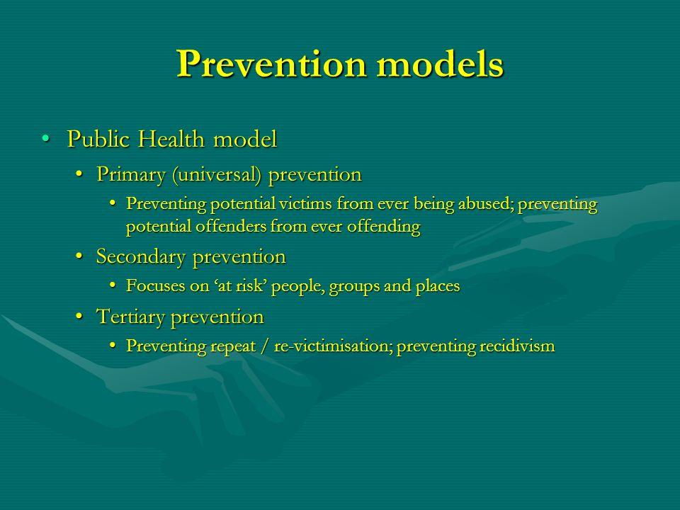Prevention models Public Health modelPublic Health model Primary (universal) preventionPrimary (universal) prevention Preventing potential victims fro