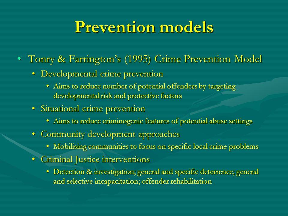 Prevention models Tonry & Farringtons (1995) Crime Prevention ModelTonry & Farringtons (1995) Crime Prevention Model Developmental crime preventionDev
