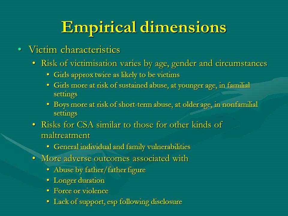 Empirical dimensions Victim characteristicsVictim characteristics Risk of victimisation varies by age, gender and circumstancesRisk of victimisation v