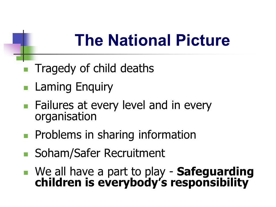 The National Picture Tragedy of child deaths Laming Enquiry Failures at every level and in every organisation Problems in sharing information Soham/Sa