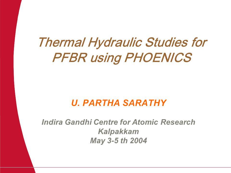 Thermal Hydraulic Studies for PFBR using PHOENICS U. PARTHA SARATHY Indira Gandhi Centre for Atomic Research Kalpakkam May 3-5 th 2004