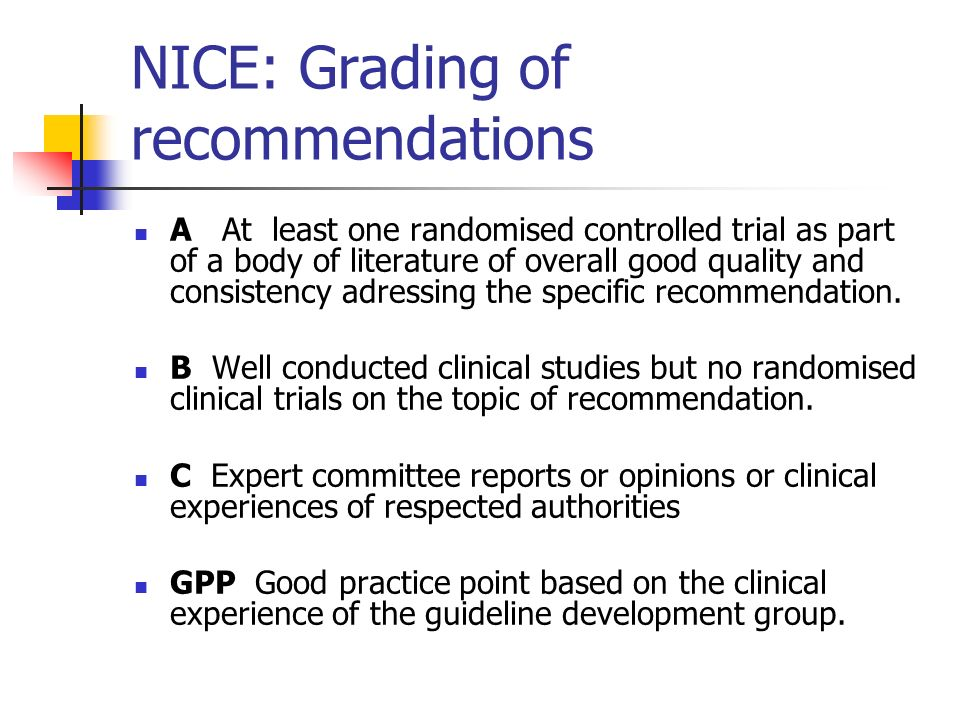 NICE: Grading of recommendations A At least one randomised controlled trial as part of a body of literature of overall good quality and consistency ad