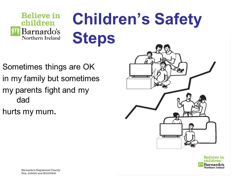 Childrens Safety Steps Sometimes things are OK in my family but sometimes my parents fight and my dad hurts my mum.