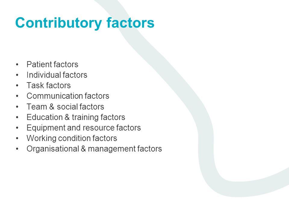 Contributory factors Patient factors Individual factors Task factors Communication factors Team & social factors Education & training factors Equipmen