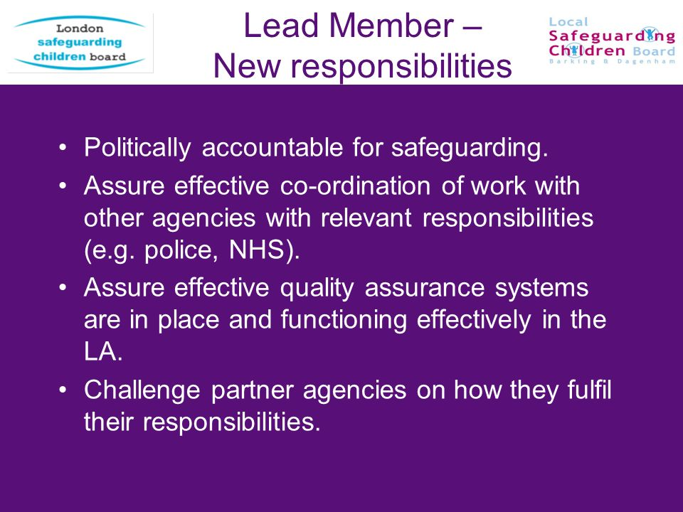 Lead Member – New responsibilities Politically accountable for safeguarding. Assure effective co-ordination of work with other agencies with relevant