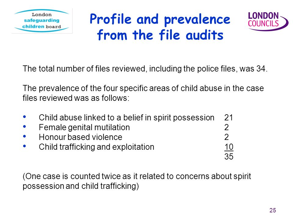 25 The total number of files reviewed, including the police files, was 34.