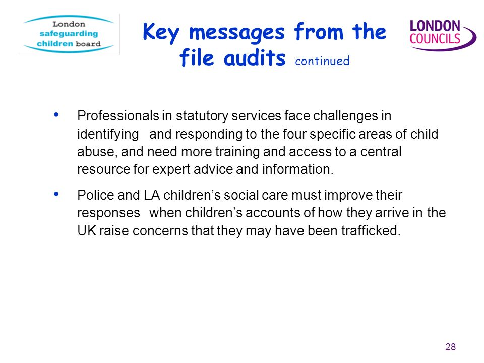 28 Key messages from the file audits continued Professionals in statutory services face challenges in identifying and responding to the four specific areas of child abuse, and need more training and access to a central resource for expert advice and information.