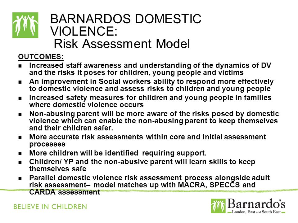 BARNARDOS DOMESTIC VIOLENCE: Risk Assessment Model OUTCOMES: Increased staff awareness and understanding of the dynamics of DV and the risks it poses