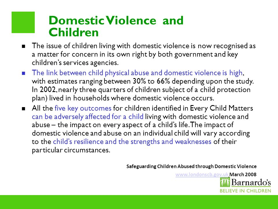 Domestic Violence and Children The issue of children living with domestic violence is now recognised as a matter for concern in its own right by both
