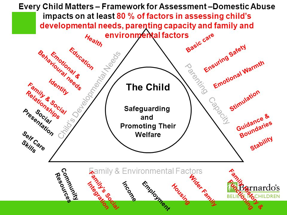 The Child Safeguarding and Promoting Their Welfare Childs Developmental Needs Parenting Capacity Family & Environmental Factors Community Resources Fa
