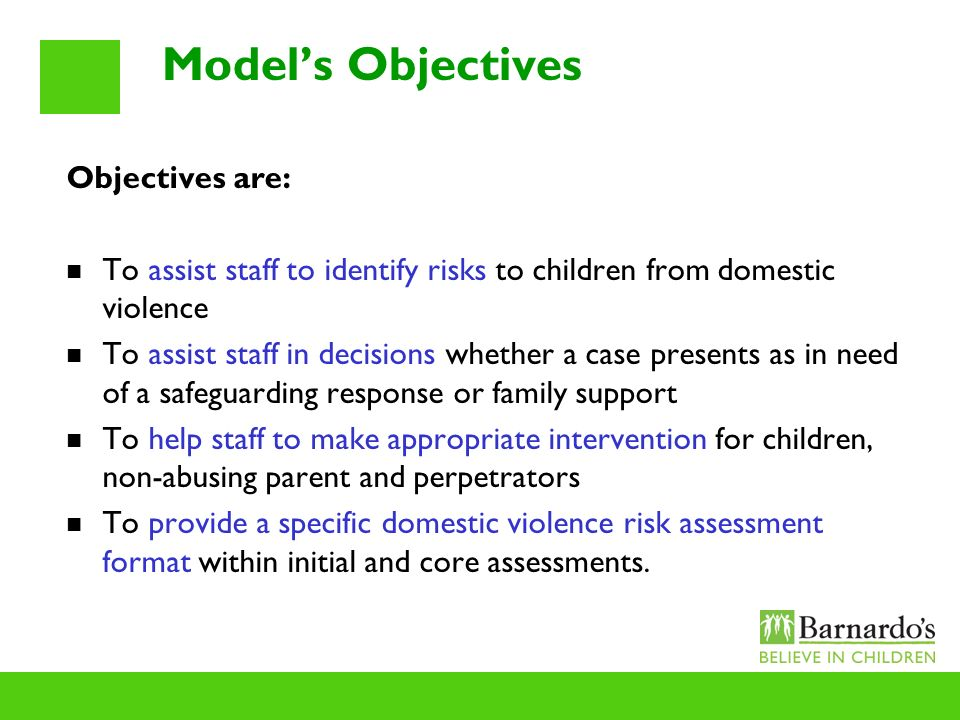 Models Objectives Objectives are: To assist staff to identify risks to children from domestic violence To assist staff in decisions whether a case pre