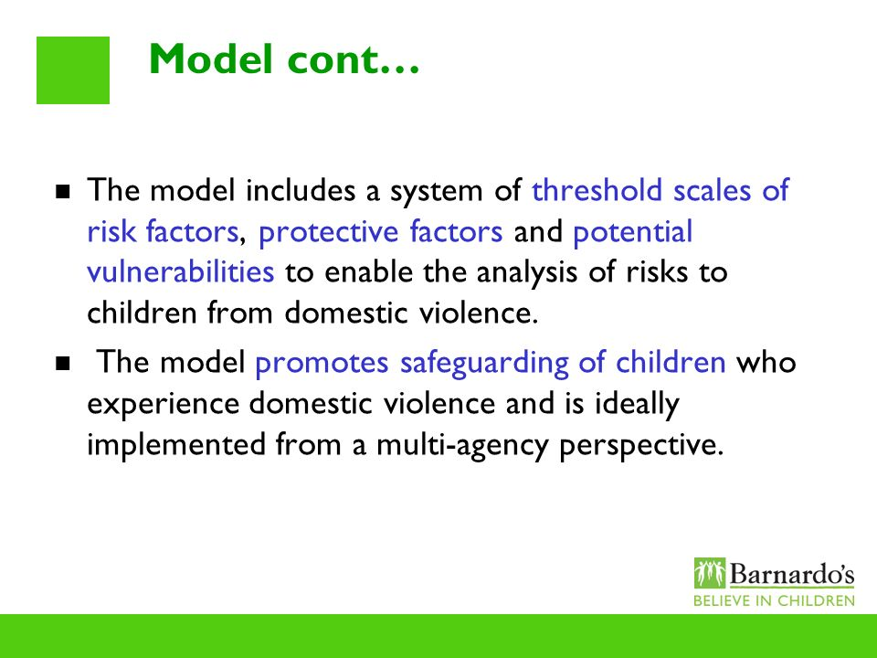 Model cont… The model includes a system of threshold scales of risk factors, protective factors and potential vulnerabilities to enable the analysis o