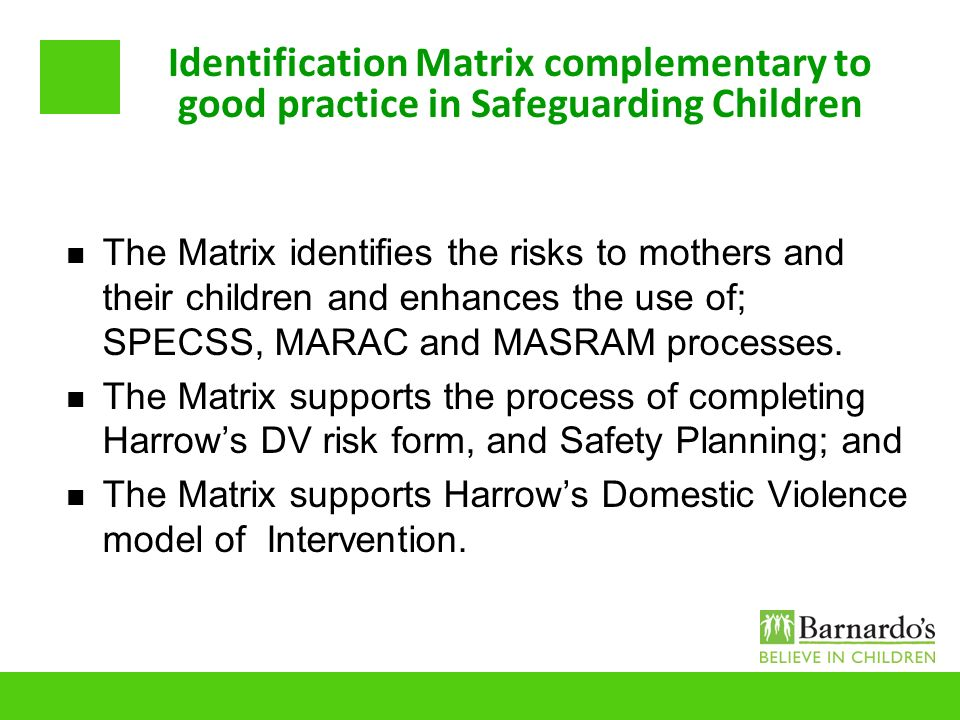 Identification Matrix complementary to good practice in Safeguarding Children The Matrix identifies the risks to mothers and their children and enhanc