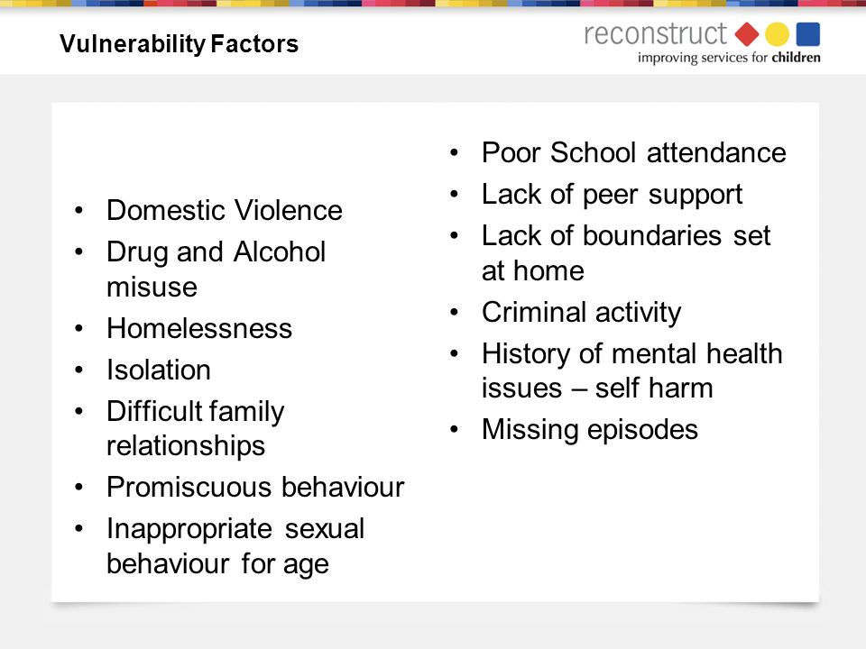 Vulnerability Factors Domestic Violence Drug and Alcohol misuse Homelessness Isolation Difficult family relationships Promiscuous behaviour Inappropriate sexual behaviour for age Poor School attendance Lack of peer support Lack of boundaries set at home Criminal activity History of mental health issues – self harm Missing episodes