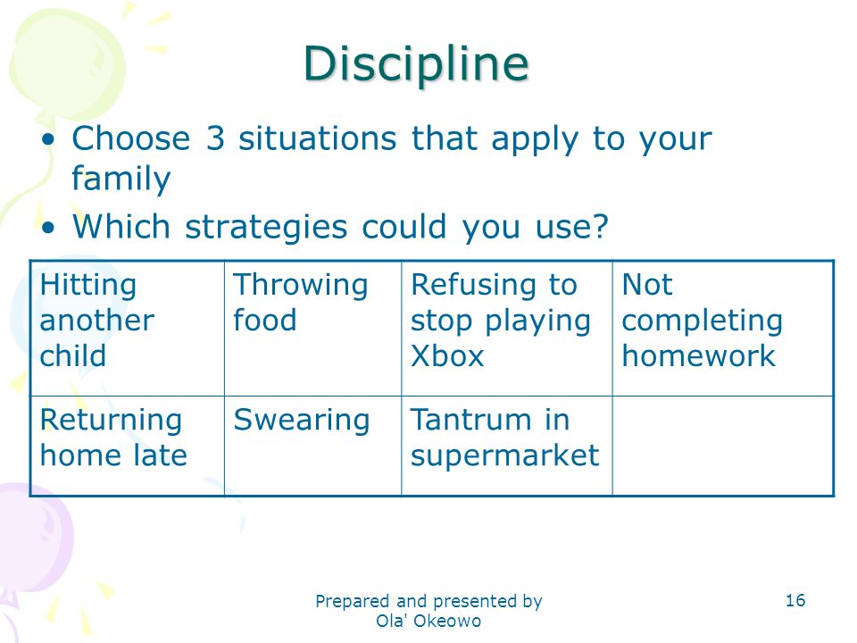 Discipline Choose 3 situations that apply to your family Which strategies could you use.