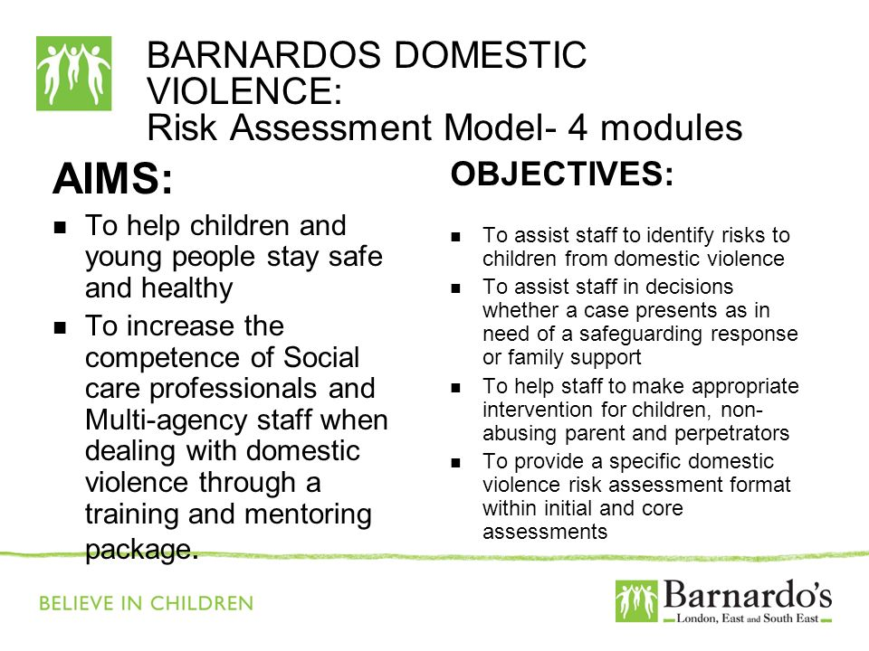 BARNARDOS DOMESTIC VIOLENCE: Risk Assessment Model- 4 modules AIMS: To help children and young people stay safe and healthy To increase the competence