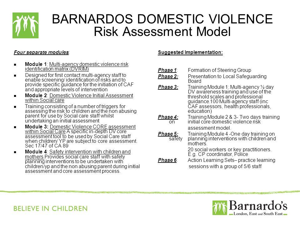 BARNARDOS DOMESTIC VIOLENCE Risk Assessment Model Four separate modules: Module 1: Multi-agency domestic violence risk identification matrix (DVRIM) D
