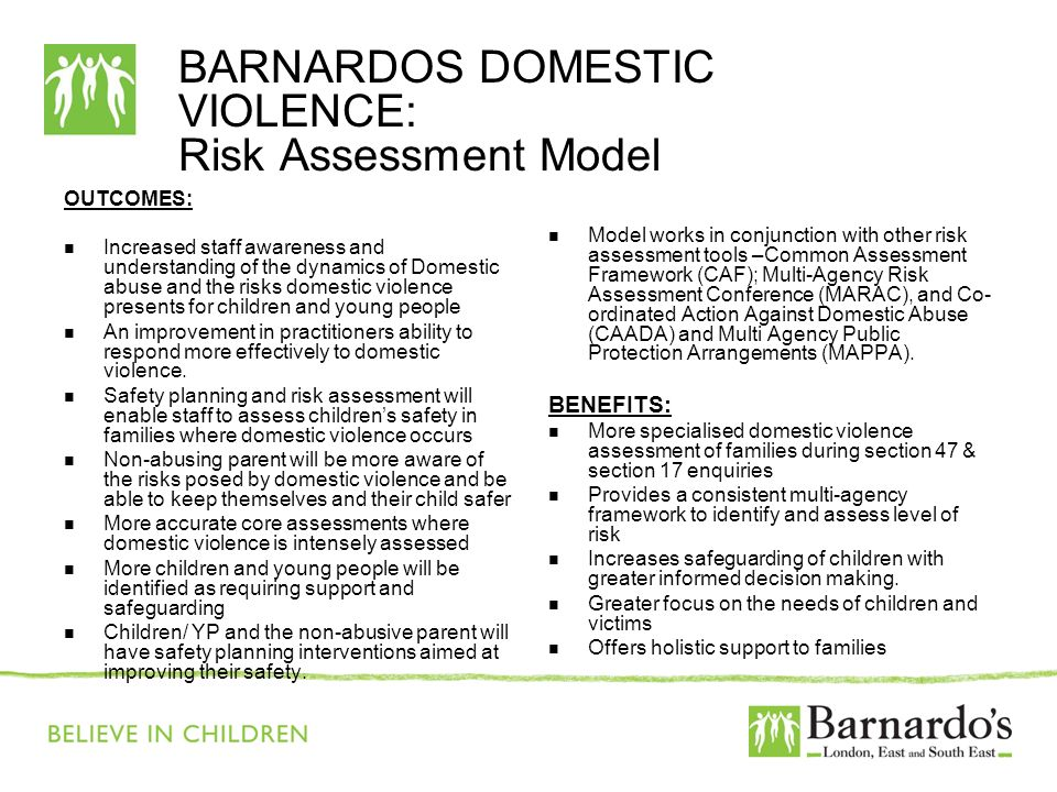 BARNARDOS DOMESTIC VIOLENCE: Risk Assessment Model OUTCOMES: Increased staff awareness and understanding of the dynamics of Domestic abuse and the ris