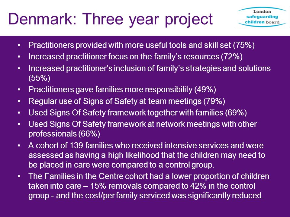 Denmark: Three year project Practitioners provided with more useful tools and skill set (75%) Increased practitioner focus on the familys resources (7