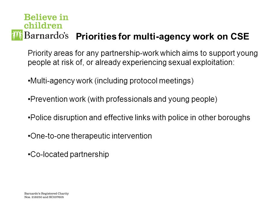 Priorities for multi-agency work on CSE Priority areas for any partnership-work which aims to support young people at risk of, or already experiencing