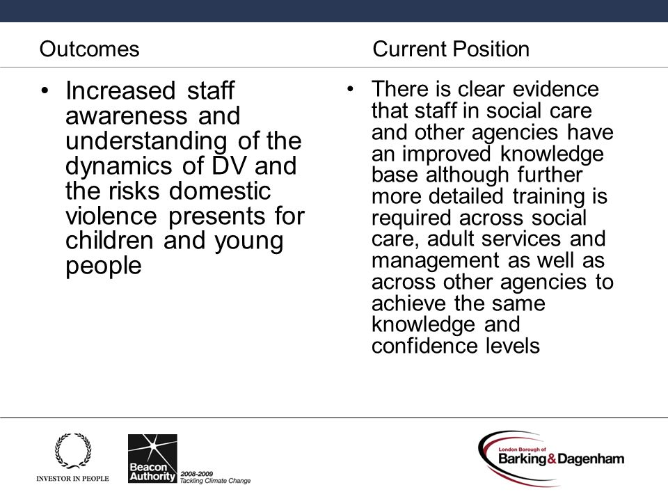 Outcomes Current Position An improvement in Social workers ability to respond more effectively to domestic violence.