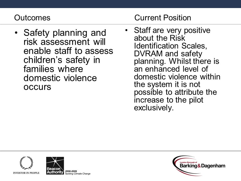 Outcomes Current Position Safety planning and risk assessment will enable staff to assess childrens safety in families where domestic violence occurs