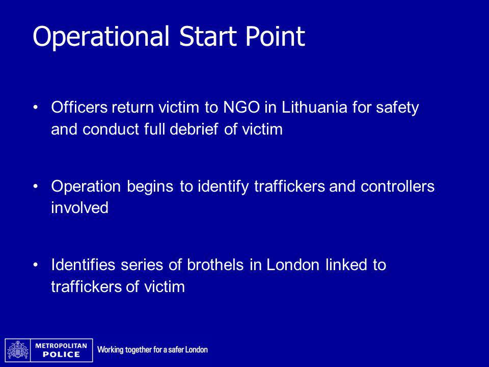 Operational Start Point Officers return victim to NGO in Lithuania for safety and conduct full debrief of victim Operation begins to identify traffick