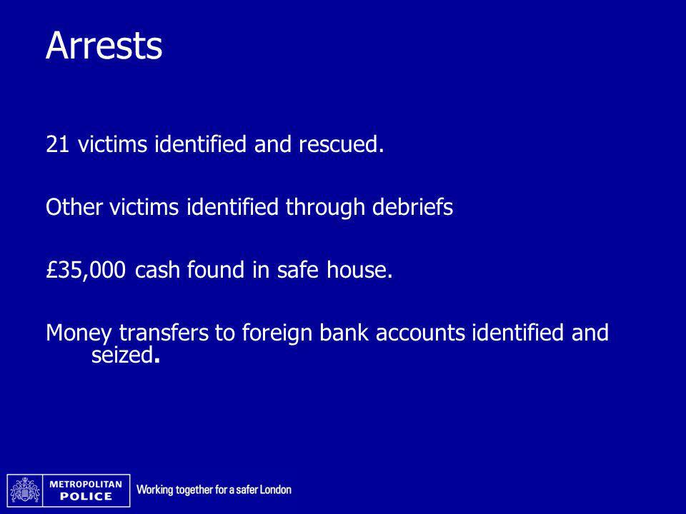 Arrests 21 victims identified and rescued. Other victims identified through debriefs £35,000 cash found in safe house. Money transfers to foreign bank