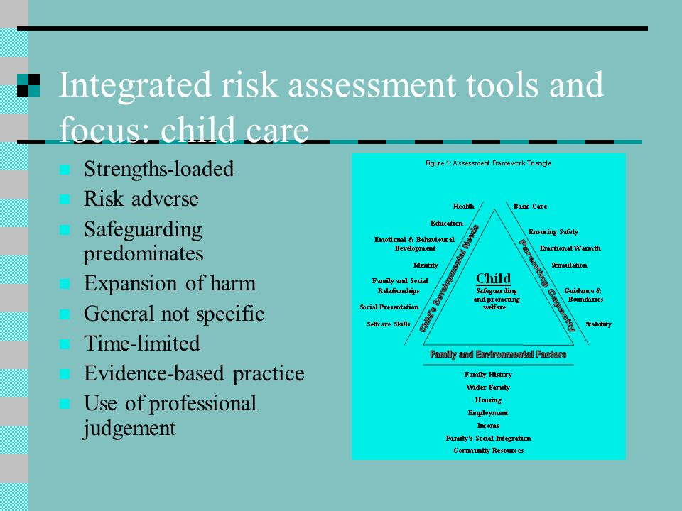 Integrated risk assessment tools and focus: child care Strengths-loaded Risk adverse Safeguarding predominates Expansion of harm General not specific
