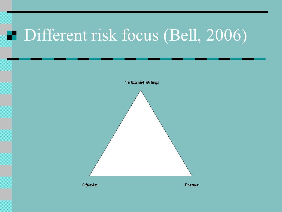 Different risk focus (Bell, 2006)