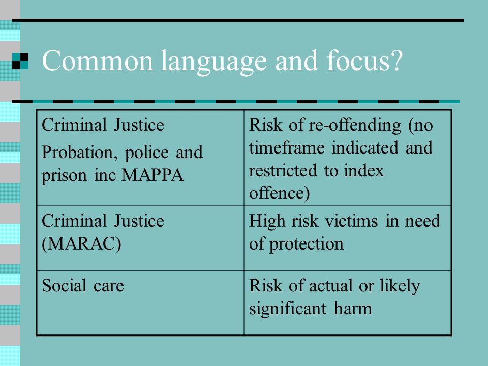 Common language and focus? Criminal Justice Probation, police and prison inc MAPPA Risk of re-offending (no timeframe indicated and restricted to inde