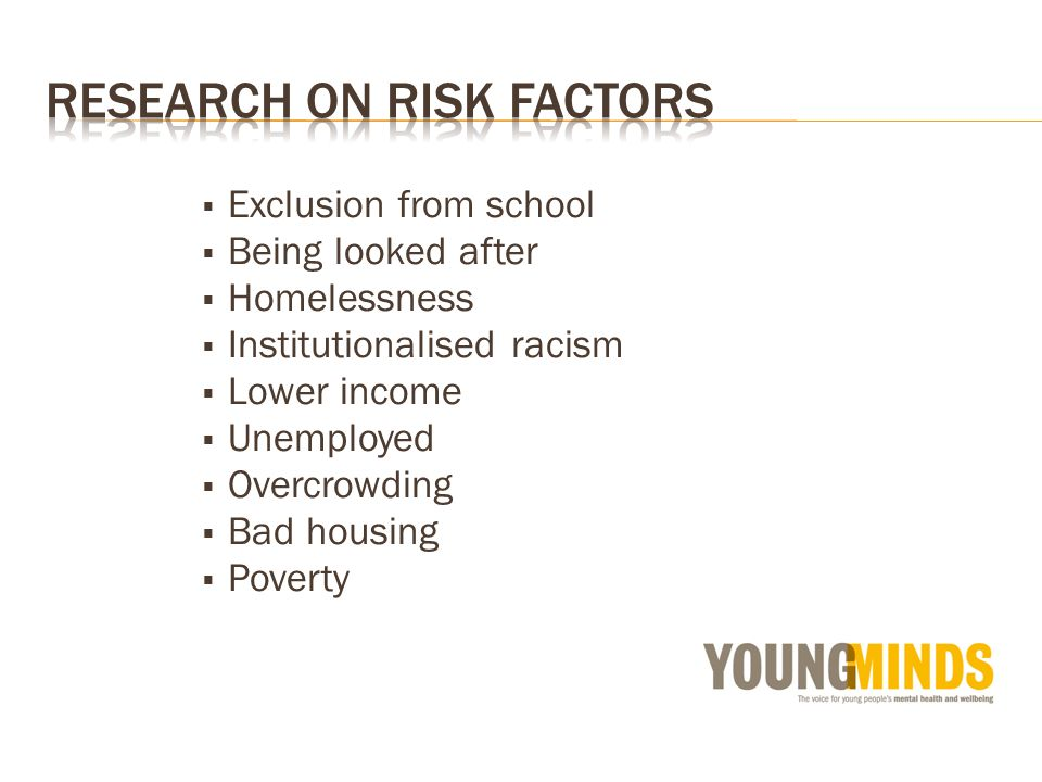 Exclusion from school Being looked after Homelessness Institutionalised racism Lower income Unemployed Overcrowding Bad housing Poverty