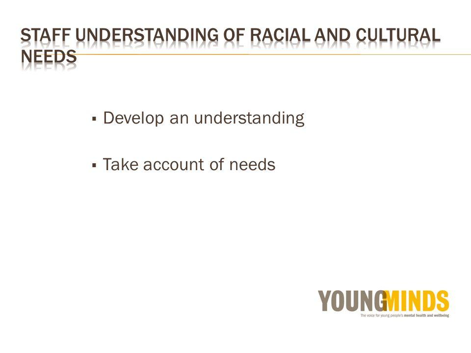 Develop an understanding Take account of needs