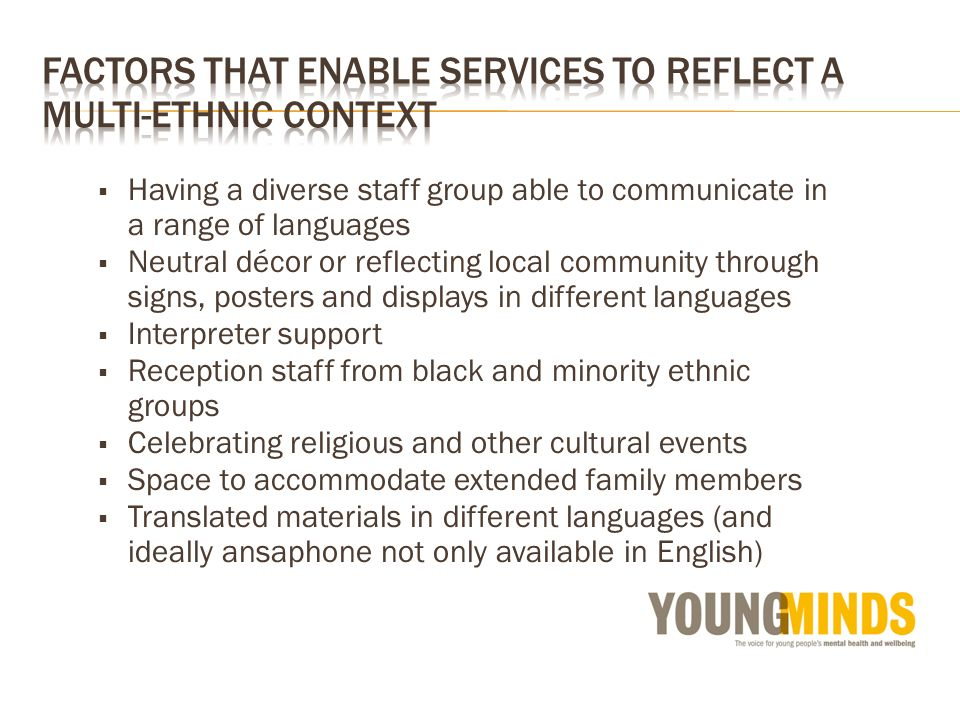 Having a diverse staff group able to communicate in a range of languages Neutral décor or reflecting local community through signs, posters and displays in different languages Interpreter support Reception staff from black and minority ethnic groups Celebrating religious and other cultural events Space to accommodate extended family members Translated materials in different languages (and ideally ansaphone not only available in English)