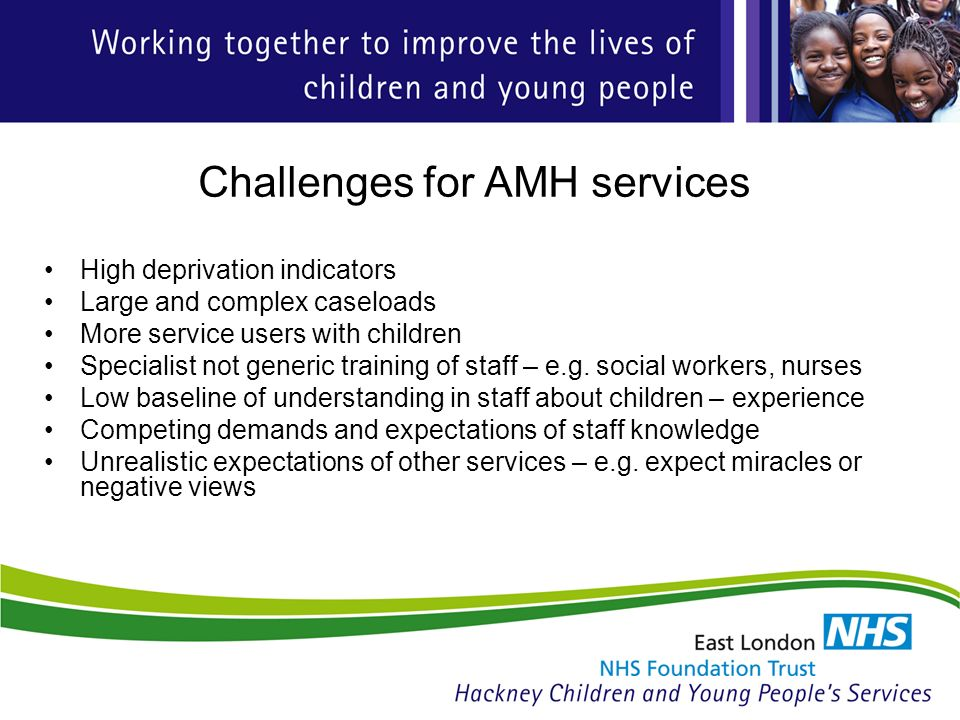 Challenges for AMH services High deprivation indicators Large and complex caseloads More service users with children Specialist not generic training of staff – e.g.