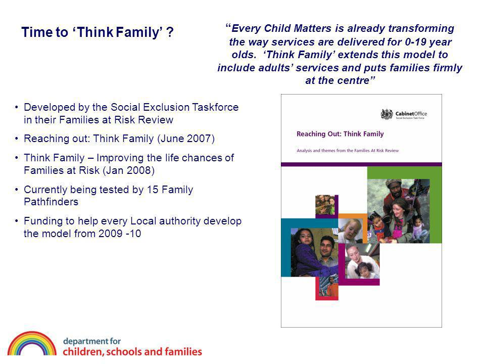 Time to Think Family ? Developed by the Social Exclusion Taskforce in their Families at Risk Review Reaching out: Think Family (June 2007) Think Famil