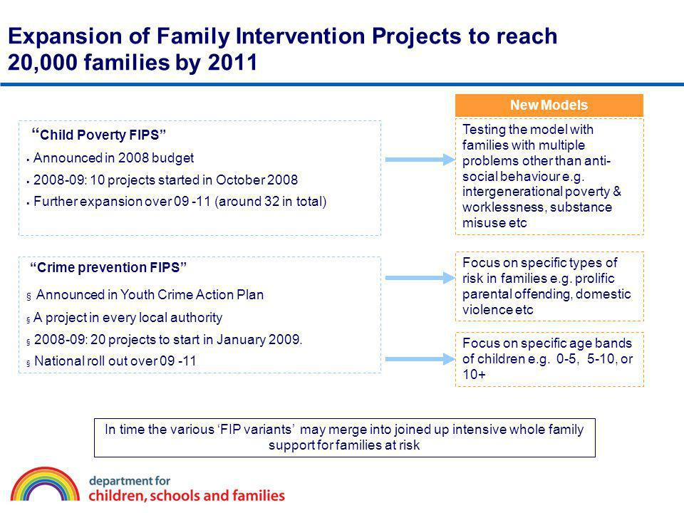 Expansion of Family Intervention Projects to reach 20,000 families by 2011 Child Poverty FIPS Announced in 2008 budget 2008-09: 10 projects started in