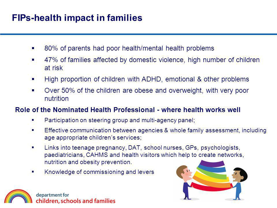 80% of parents had poor health/mental health problems 47% of families affected by domestic violence, high number of children at risk High proportion o